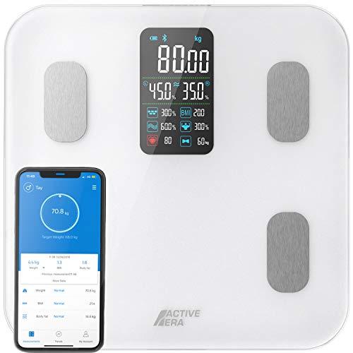 Active Era Bilancia da Bagno Intelligente con Ampio Display LED - Bilancia digitale Bluetooth con 16 Misurazioni, Indice di Massa Corporea (BMI) con App