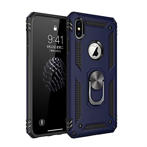 ZZKHFA Funda protectora para iPhone 12 11 Pro XS Max Mini XR X 6 6S 7 8 Plus con anillo de dedo militar Kickstand (color: azul, material: para iPhone 11Pro Max)