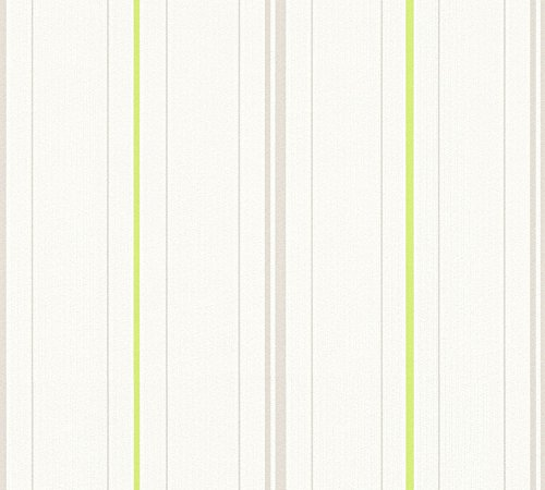 A.S. Création Vliestapete Happy Spring Tapete gestreift 10,05 m x 0,53 m grau grün weiß Made in Germany 347641 34764-1