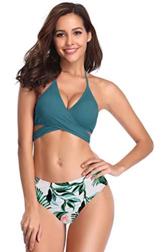 SHEKINI Damen Zweiteiliger Crossover Neckholder Bikini Weiche Pads Oberteil Druck Bikinihose Schwimmbad Sexy Schick Für Frau Strandkleidung High Waist Bauchweg Unterteil (XL, A-Dunkelgrün)
