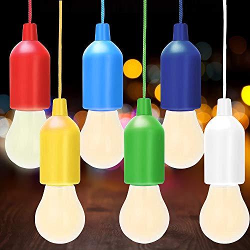 AODOOR 6 lámparas LED portátiles, con cordón de tracción, luces LED de colores, lámpara colgante de campamento, luz decorativa, lámpara móvil, ideal para jardín, cobertizo, funciona con pilas