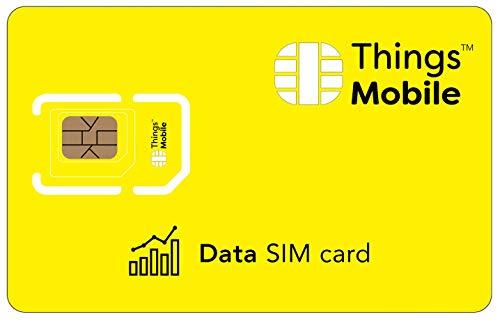 DATEN-SIM-Karte - Things Mobile - mit weltweiter Netzabdeckung und Mehrfachanbieternetz GSM/2G/3G/4G. Ohne Fixkosten und ohne Verfallsdatum. 10 € Guthaben inklusive