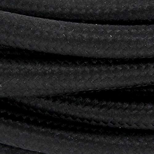 Cable textil con enchufe e interruptor (2 m), color negro
