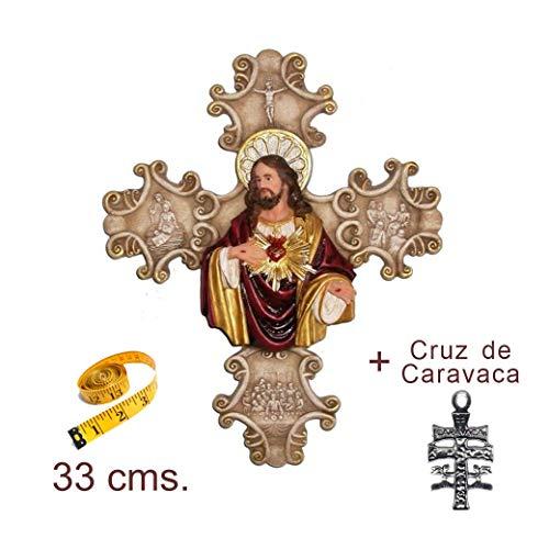 Heraldys.- Figura Sagrado Corazón de Jesús sobre Cruz (para Colgar en Pared) 33 cms. en Resina, Pintada a Mano. De Regalo estampas de San Expedito, San Pancracio, San Judas Tadeo y San Miguel.