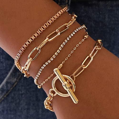Branets - Juego de pulseras de cristal en capas, pulsera de círculo dorado, cadena de mano con cuentas, ajustable para mujeres y niñas (5 piezas)