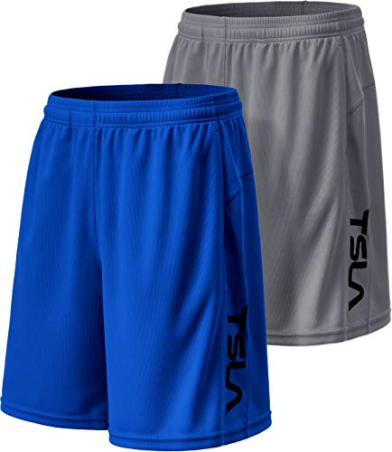 TSLA Men's Athletic Mesh Shorts, Quick Dry Basketball Running Shorts, Gym Training Workout Shorts with Pockets, Hyper Dri 2Pack(mbh22) - Grey/Blue, Medium