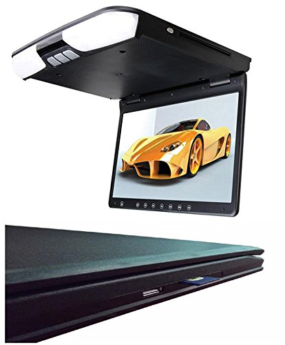 YMPA 38,1 cm 15 Zoll Inch TFT LCD Video mit DVD Player USB SD Reader HDMI Deckenmonitor Flipdown Monitor für Bus und Auto Wohnmobil KFZ PKW mit Zwei Videoeingängen 12V schwarz LCM-FD15DVD