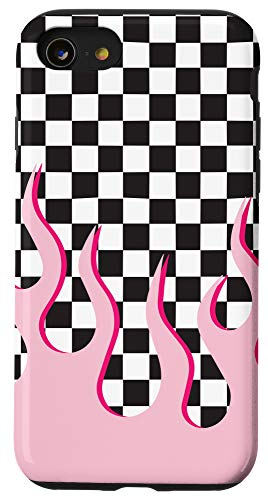 iPhone SE (2020) / 7 / 8 Pastel Pink Flames Checkered Case Pattern Girly Cute Case