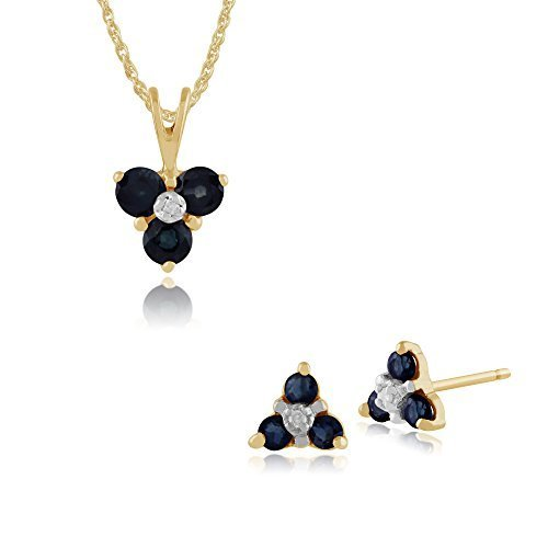 Gemondo 9ct Oro Giallo,zaffiro E Diamante Floreale Grappolo A Lobo Orecchini & 45cm Collana Set