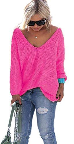 Mikos* Schöner Sommer/Frühling Sexy Pullover Pulli mit V-Ausschnitt Pulli tollen Farben S/M (617) (Neon Rosa)