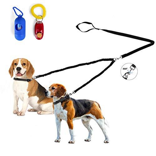 Fuzzymoo Double Dog Leash, 360° Swivel Durable Dual Retractable Dog Leash Coupler No Tangle, Shock Absorbing Reflective Bungee Training Dog Leash for 2 Small/Midium Dogs