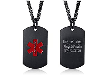VNOX Personalized Custom Engraving Stainless Steel Emergency Medical Alert ID Dog Tag Pendant Necklace for Men Women,Black