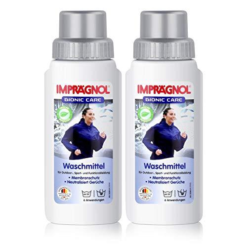 Imprägnol Bionic Care Waschmittel 2 x 250ml: Sauberkeit & Wäscheschutz für jede Wetterlage - idealer Kleidungsschutz für Outdoor,- Sport- und Funktionskleidung, PFC-frei