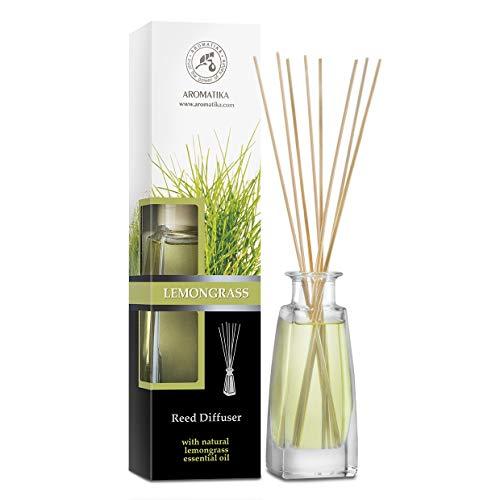 Aroma Difusor con Aceite de Lemongrass Natural 100ml - Fragancia Fresca y de Larga Duración - Set de Regalo de Difusor con 8 palitos de bambú - Mejor para Aromaterapia - SPA - Baño - Oficina