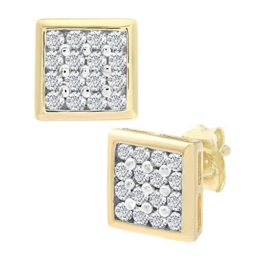 Naava Damen-Ohrstecker 9 Karat 375 Gelbgold teilrhodiniert Diamant (0,20 ct) weiß Rundschliff PE02924Y