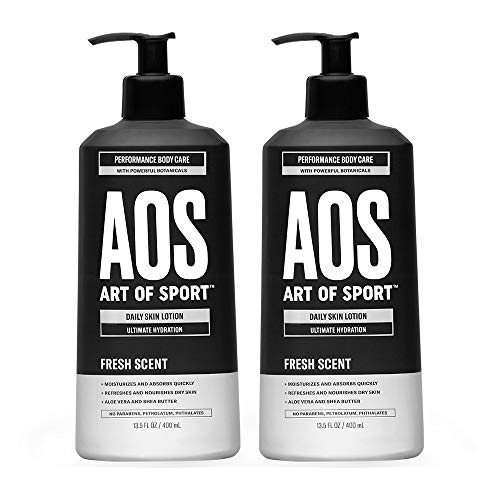Art of Sport Daily Skin Lotion (2-Pack), Body Lotion for Dry Skin, Daily Moisturizer Repairs with Shea Butter, Aloe Vera, Vitamin B and E, Non-Greasy Feel, Fresh Scent, Dermatologist Tested, 13.5 oz