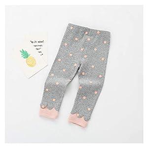 春の秋の新しい女の赤ちゃんのズボン0-2歳の赤ちゃんレギンスベビーパンツニットポルカドットの印刷新生児のズボン (色 : Grey, Size : 3M)
