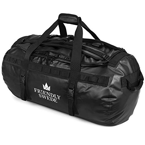 北欧ブランド「The Friendly Swede」ボストンバッグ ダッフルバッグ 耐水 スポーツバッグ 旅行バッグ 旅行カバン メンズ レディース ユニセックス ジムバッグ 3way 大容量 ドラムバッグ (ブラック 90L)