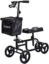 ELENKER Knee Scooter Economy Steerable Knee Walker Ultra Compact & Portable Crutch Alternative with Basket Braking System for Ankle/Foot/Leg Injury or Surgery (Black)