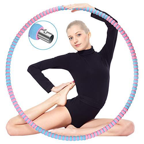 ikotayou Hoola Hoop Reifen Erwachsene, Hula Reifen Hoop für Erwachsene Anfänger zur Gewichtsreduktion und Massage, 8 Segmente Abnehmbarer Hoop Reifen mit Stabiler Edelstahlkern für Fitness/Sport-1.2KG