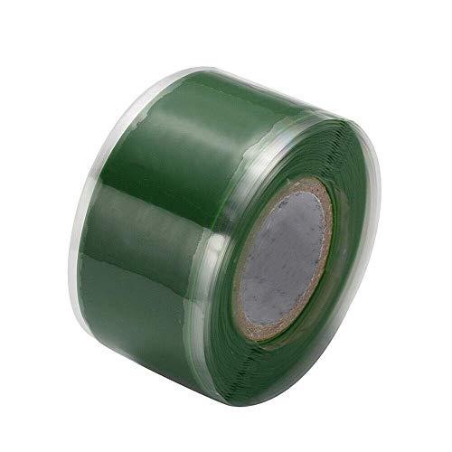 Isolierband, Silikonreparatur-Dichtungsband, wasserdichtes selbstschmelzendes Rohrreparaturband (2,5 cm x 3 m, 1 Stück, grün)