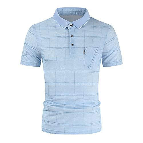 Manga Corta Hombre con Bolsillo Ropa de Trabajo Cuello Clásico a Cuadros Camisa de Verano Camiseta para la Oficina Camisas Slim Fit Camiseta Golf Oficina T-Shirt Verano