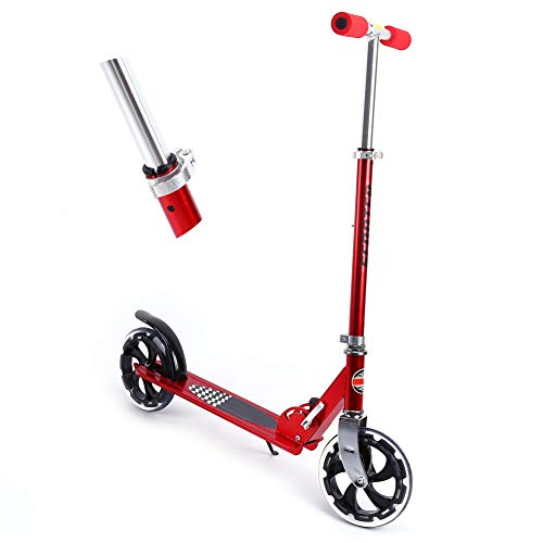 TAKE FANS Scooter de Empuje Plegable, Scooter de Empuje Profesional Plegable para niños/Adultos, Barra Fija, Altura Ajustable, Reino Unido 95 cm, Rojo