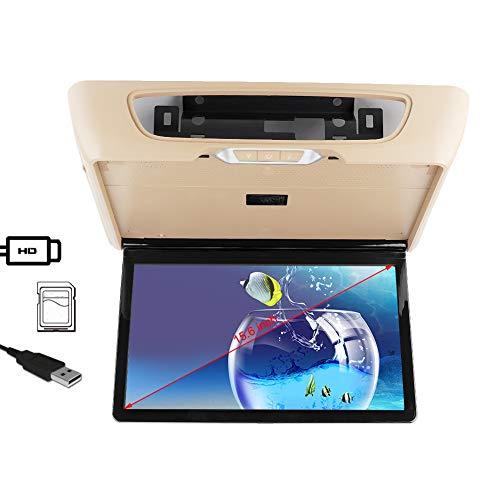 """Overhead-Flip-Down-Automonitor, HD 1920X1080P 15,6""""Universal-Ips-Vollbild-LED-UHD-Bildschirm Autodachfernseher, mit USB-Tf-Karte HDMI-Schnittstelle, Unterstützung Android/Ios Wireless-Verbindung"""
