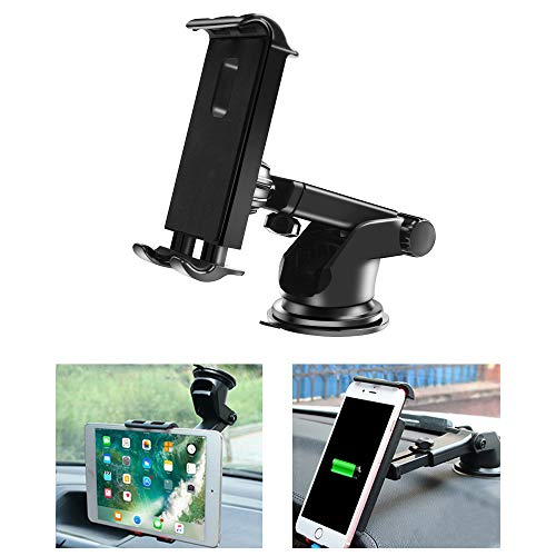 Car Tablet Mount Holder, Universal Dashboard Windshield Tablet Stand Cell Phone Holder Car Dash Mount Suction Cup Mount Compatible with iPad Pro/Air/Mini, iPhone, Galaxy Tab, All 4.7-10.5' Devices