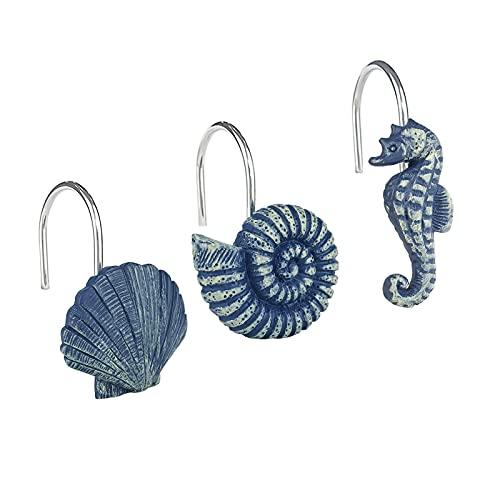 Sunlit Muscheln, dekorative Duschvorhanghaken, blaue Ozean-Kreaturen, Küsten-Duschvorhangringe, Kunstharz, nautische Badezimmer-Dekoration, Strand-Duschvorhang-Haken, 12 Stück