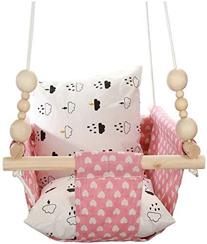 HB.YE 100% Handwerk Hängesessel Baby Leinwand Schaukel Kinder Indoor Hängesitz Outdoor Hängematte Geburtstagsgeschenk Dekoration Lieb ((mit Perlen+Kissen) Rosa Liebe)