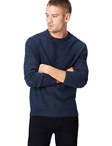 Marca Amazon - find. Jersey de Punto con Textura para Hombre, Azul (Navy), M, Label: M