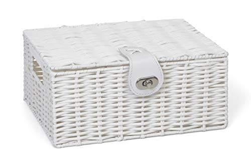 Arpan Small Resin Woven Storage Basket Box with Lid & Lock - White
