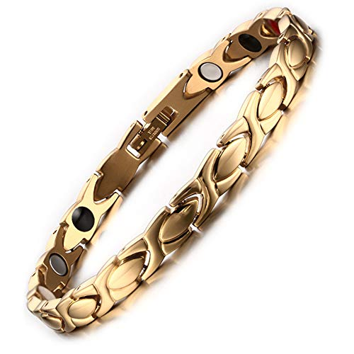 Magnetic Bracelet for Women Titanium Stainless Steel Magnet Bracelets Adjustable