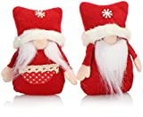 com-four® 2X Premium Weihnachts-Wichtelpaar Gr.S für die Weihnachtsdeko, Nordpol-Figuren als winterliche Dekoartikel, Niedlicher Kantenhocker als Raumschmuck oder Geschenk (Polar rot weiß 12cm)