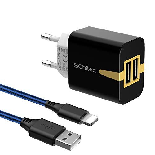 SCHITEC Cargador USB 2 Pack,2 Puertos 5V / 2.1A Cargador de Pared USB con 2m Cable Phone Adaptador de Corriente para Enchufe USB de Viaje para iPhone 11 10 XS/XS MAX/XR/X 8/7/6, iPad Air Mini Pro
