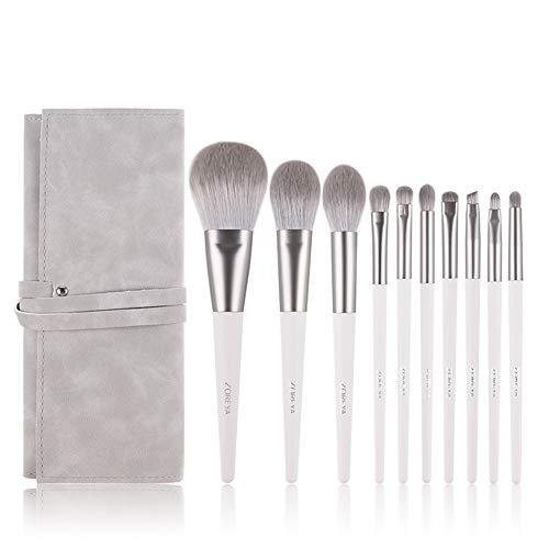 Lunchbox.com 10pcs pinceaux de Maquillage, des Fibres synthétiques Maquillage Brosses à paupières Brosse poignée Blanche Mélange Blush Poudre Lip surligneur Maquillage Brosses Set
