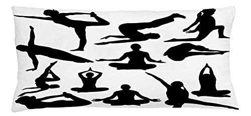 ABAKUHAUS Meditation Throw Pillow Cushion Cover, Yoga Postures Woman Body Relaxation Chakra Mystic Hobby Theme Hippie Print, Decorative Square Accent Pillow Case, 36 X 16 Inches, Black White