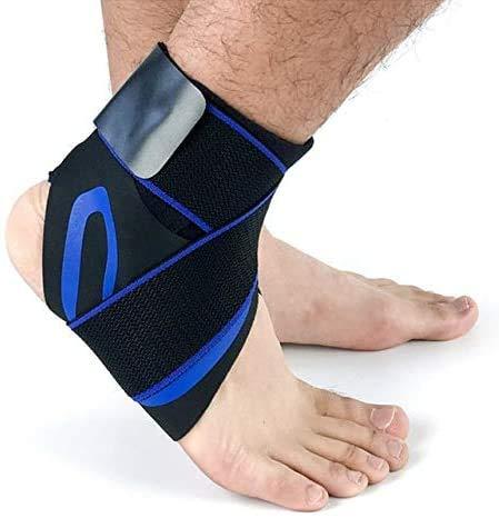 JIAFENG Proteger la Seguridad de la Cinta Protectora del Tobillo del pie de fútbol de Baloncesto en el Apoyo aéreo contra la compresión 1PCS Tobillo,Vendaje Azul,S hacia la Derecha