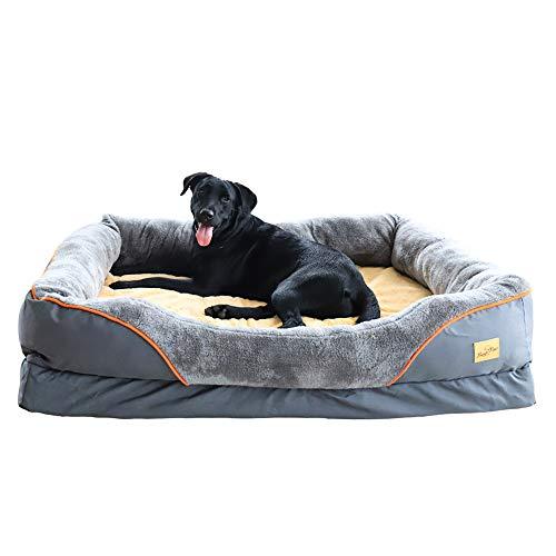BingoPaw Cama de Espuma Viscoelástica para Perros Grandes 120 x 90 x 26cm Colchoneta Cómoda para Mascotas Suave Sofá para Perros Impermeable y Lavable