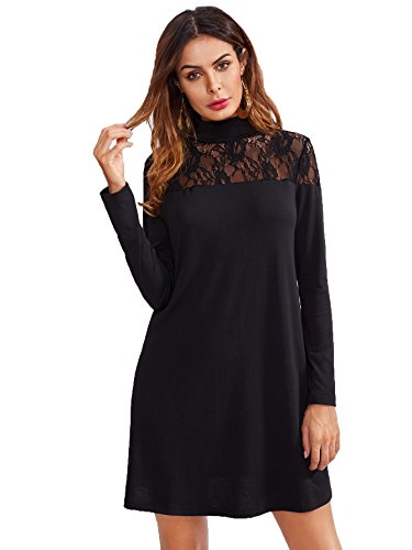 ROMWE Damen Elegant Kleid mit Spitze-Detail A-Linie Spitzenkleid Schwarz S