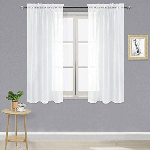 DWCN White Sheer Curtains Semi Transparent Voile Rod Pocket Curtains for Bedroom and Living Room, 42 x 45 inches Long, Set of 2 Panels