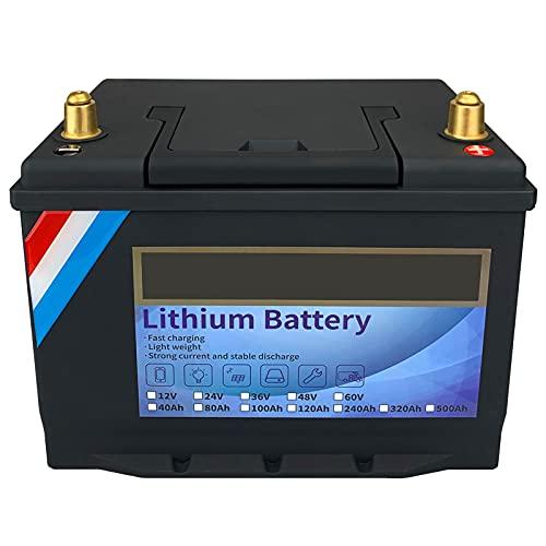 Batería de Litio 12v 100ah Paquete de baterías Lifepo Chip Inteligente Incorporado, Aplicaciones de Acampada en centrales eléctricas, Todoterreno y Fuera de la Red,12V120Ah
