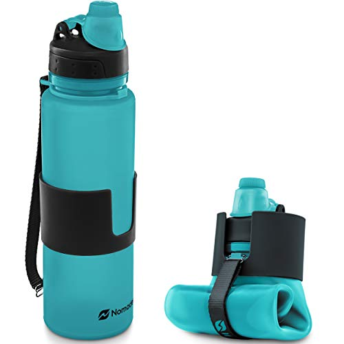 Nomader BPA Free Collapsible Sports Water Bottle - Foldable with Reusable Leak Proof Twist Cap for Travel Hiking Camping Outdoor and Gym - 22 oz (Aqua Blue)