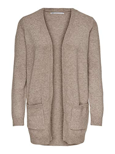 Only 15174274 Chaqueta Punto, Beige (Beige Detail: W. Melange), 42 (Talla del Fabricante: Large) para Mujer