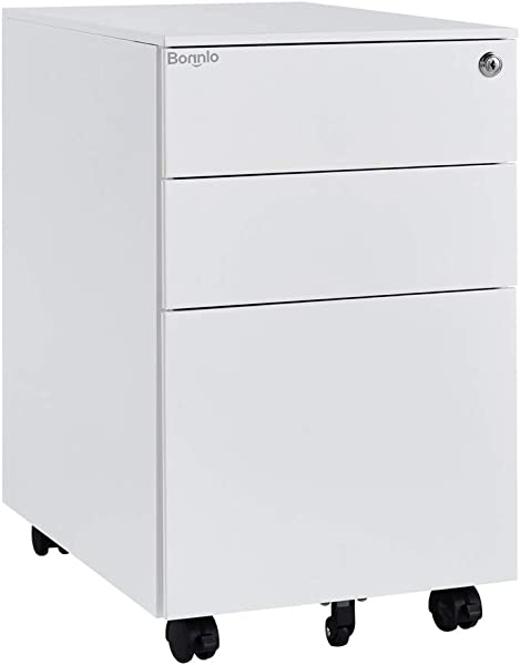 Bonnlo 3 Drawer Metal Mobile File Cabinet With Lock Rolling Steel Office Cabinet With Drawers Fully Assembled Except Casters White
