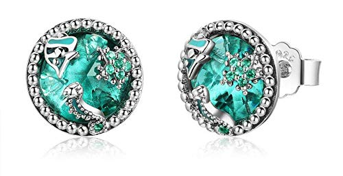 Authentic 925 Sterling Silver Ocean Tropical Fish Stud Earrings for Women Green CZ Sterling Silver Jewelry Gift