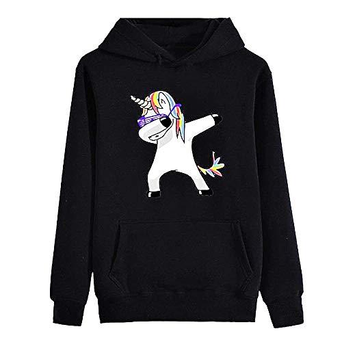Dames eenhoorn sweater - vrouw - schar dans - met kap - lange mouw - vrouw - meisje - sweater - zwart - origineel cadeau idee