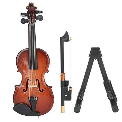 Clasken Mini-Musikinstrument, praktisches Elegantes Miniatur-Geigenspielzeug, mit Standkoffer Mini für Desktop-Dekoration Geburtstagsfest Geschenke Büro Office