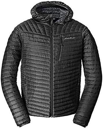 Eddie Bauer Men's MicroTherm StormDown Hooded Jacket, Black Regular S